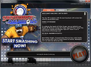 Start screen for Smashmuck Champions downloadable game